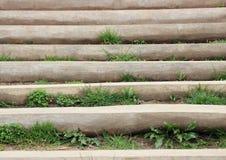 Деревянная лестница снаружи с засорителем между шагами Стоковое Изображение RF