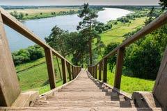 Деревянная лестница & x28; border& x29 Литвы - России; Стоковые Фото