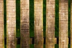 Деревянная загородка на зеленой текстуре предпосылки Стоковые Изображения RF