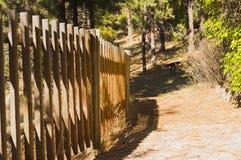 Деревянная загородка на следе с тенями Стоковые Фотографии RF