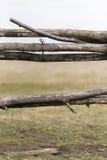 Деревянная загородка на луге где коровы пасут Стоковое фото RF
