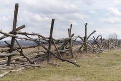 Деревянная загородка на луге где коровы пасут Стоковая Фотография RF