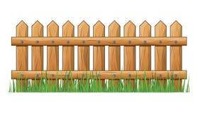Деревянная загородка с травой изолировала дизайн значка символа вектора бесплатная иллюстрация