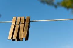 Деревянная зажимка для белья Стоковое Изображение