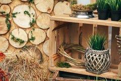 Деревянная зона фото с украшением зеленых растений Стоковое Изображение