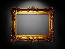 Деревянная золотая рамка, год сбора винограда Стоковые Изображения RF