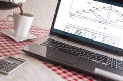 Деревянная диаграмма ферменной конструкции, компьтер-книжка, компьютер, Стоковая Фотография RF