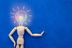 Деревянная диаграмма человека с растущей концепцией творческих способностей головы шарика Стоковая Фотография RF