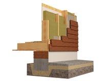 Деревянная изоляция обрамляя дома, 3D представляет, изображение произведенное компьютером Стоковая Фотография RF