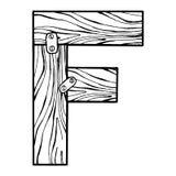 Деревянная иллюстрация вектора гравировки f письма Стоковые Изображения RF