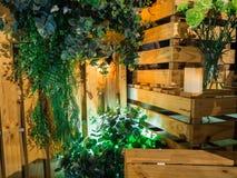Деревянная и зеленая предпосылка лист Стоковая Фотография RF