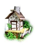 Деревянная кабина в парке Иллюстрация штока