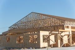 Деревянная коммерчески строительная конструкция Стоковое Фото