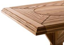 Деревянная коричневая античная таблица конца-вверх изолированная на белой предпосылке Стоковые Фото