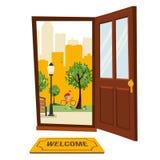 Деревянная коричневая дверь с взглядом ландшафта парка городского Вне freen деревья, силуэты небоскребов Горячий городской пейзаж иллюстрация вектора