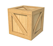 Деревянная коробка изолированная на белой предпосылке Стоковое Изображение