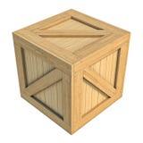Деревянная коробка изолированная на белой предпосылке Стоковое фото RF