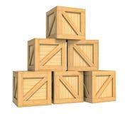 Деревянная коробка изолированная на белой предпосылке Стоковая Фотография RF