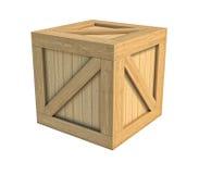 Деревянная коробка изолированная на белой предпосылке Стоковые Фото