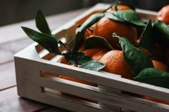 Деревянная коробка свежих tangerines с листьями на таблице Стоковые Фотографии RF