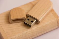 Деревянная коробка с ручкой usb Стоковые Фото