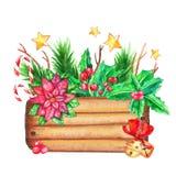 Деревянная коробка с украшениями рождества иллюстрация вектора