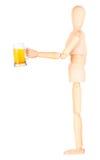 Деревянная кукла с морозным стеклом светлого пива Стоковые Фото
