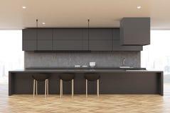 Деревянная кухня пола, серая таблица, передняя иллюстрация вектора