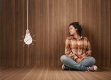 Деревянная лампочка комнаты Стоковая Фотография