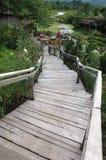 Деревянная лестница вниз Стоковые Изображения RF