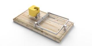 Деревянная ловушка мыши, сыр приманки, изолированный на белой предпосылке иллюстрация 3d бесплатная иллюстрация