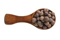 Деревянная ложка при семена allspice изолированные на белой предпосылке Стоковая Фотография