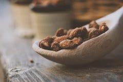 Деревянная ложка с гайками миндалины - естественная еда Стоковые Изображения RF