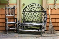 Деревянная мебель крылечку Стоковая Фотография