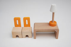 Деревянная мебель 2 стуль и таблица Стоковые Фото