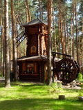 Деревянная мельница в сосновом лесе стоковая фотография rf