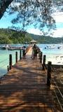Деревянная мола на острове Сабахе Борнео Малайзии Sapi стоковая фотография rf