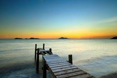 Деревянная мола с seascape стоковая фотография rf