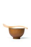 Деревянная ложка и шар риса Стоковые Фотографии RF