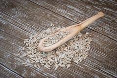 Деревянная ложка с семенами подсолнуха Стоковая Фотография