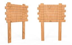 Деревянная доска знака от стороны и вид спереди стоковое изображение rf