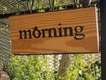 Деревянная доска знака утра Стоковая Фотография RF