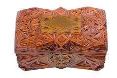 Деревянная отлакированная высекаенная коробка изолированная на белой предпосылке Стоковое фото RF