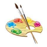 Деревянная палитра искусства с щетками и краски vector иллюстрация Стоковые Изображения RF