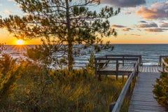Деревянная палуба обозревая заход солнца Lake Huron - Онтарио, Канаду Стоковое Изображение