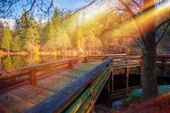Деревянная палуба озера стоковое изображение rf