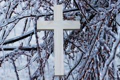Деревянная перекрестная смертная казнь через повешение на льде покрыла ветви дерева Стоковое Фото