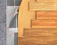 Деревянная планка с топлением пола стоковое фото rf