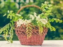 Деревянная плетеная корзина и букет весны белых wildflowers Стоковые Фотографии RF