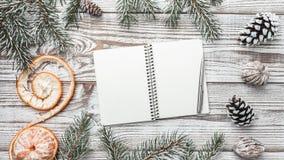 Деревянная предпосылка бело Карточка зимы разветвляет зеленый цвет ели xmas вектора иллюстрации карточки Письмо приветствию с рож Стоковые Фото